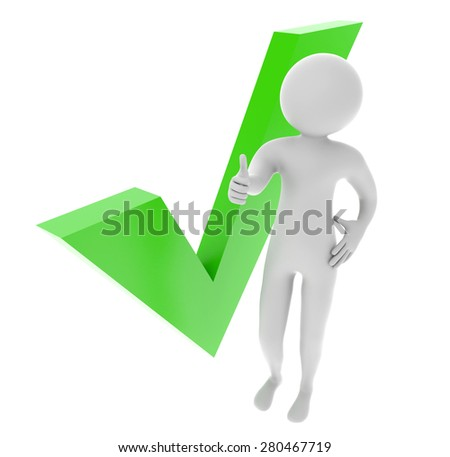 3D man showing thumb up with green check mark isolated on a white background - stock photo