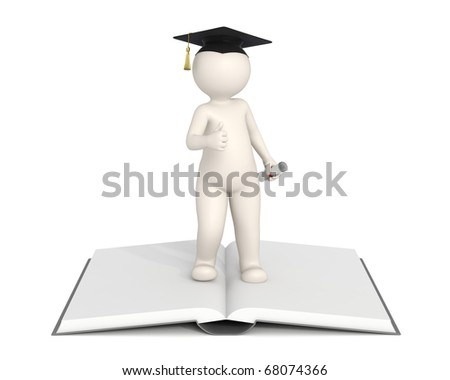 3d man showing thumbs up and standing on a book - Graduation concept - DOF