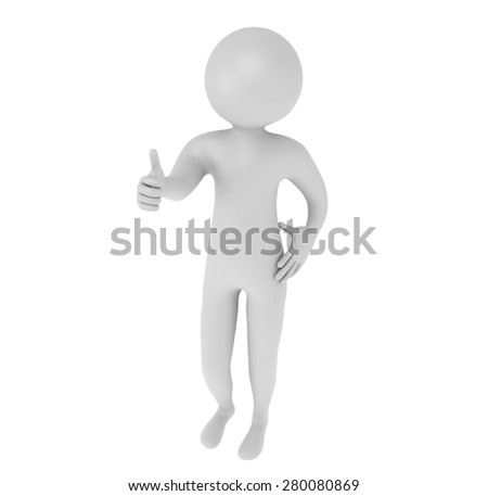 3d man showing thumbs up like isolated on white background