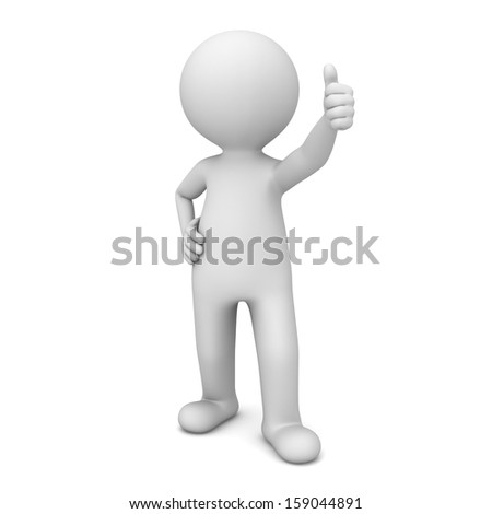 3d man showing thumbs up like isolated over white background - stock photo