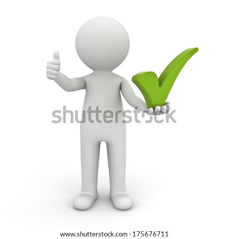 3d man showing thumbs up with green check mark on his left hand over white background - stock photo