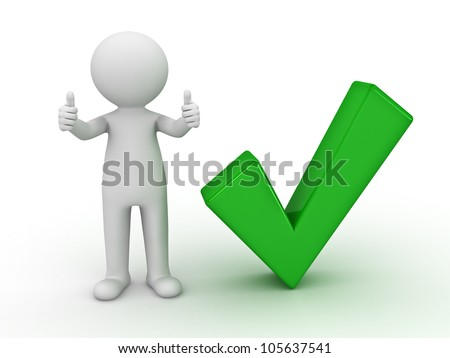 3d man showing thumbs up with green check mark on white background - stock photo