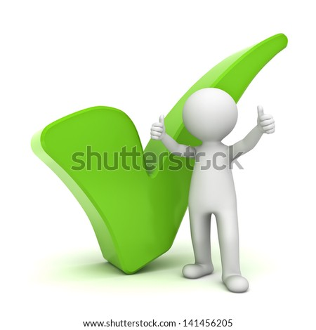 3d man showing thumbs up with green check mark over white background