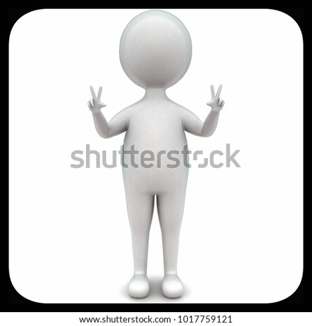 3d man showing two fingers on each hand concept in white isolated background , top angle view
