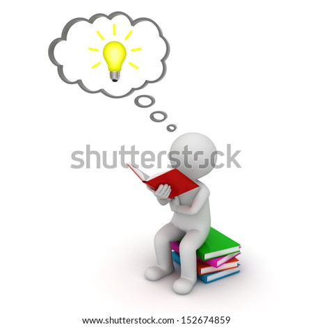 3d man sitting and reading a book with idea bulb in thought bubble isolated over white background - stock photo