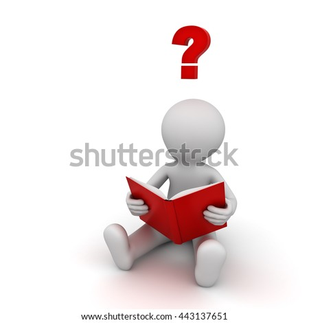 3d man sitting and reading a book with red question mark isolated over white background. 3D rendering.