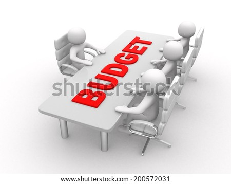 3D man sitting at a round table and having business meeting - and word Budget - 3d render - stock photo