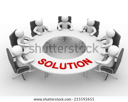 3D man sitting at a round table and having business meeting and word SOLUTION- 3d render illustration  - stock photo