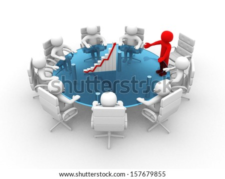 3D man sitting at a round table and having business meeting - 3d render  - stock photo