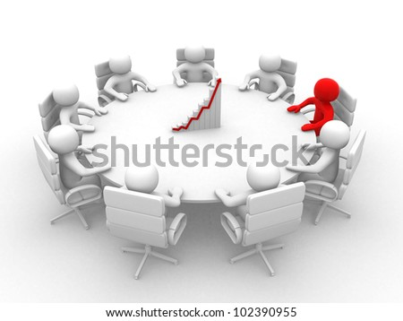 3D man sitting at a round table and having business meeting - This is a 3d render illustration - stock photo