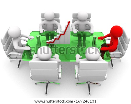 3D man sitting at a table and having business meeting - 3d render  - stock photo