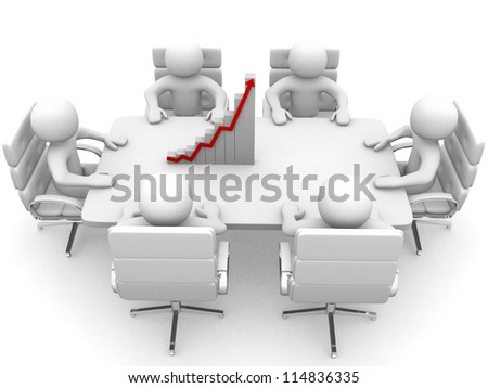 3D man sitting at table and having business meeting - 3d render - stock photo