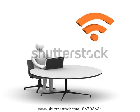 3D man sitting at the table and working on a laptop computer- 3d illustration - stock photo
