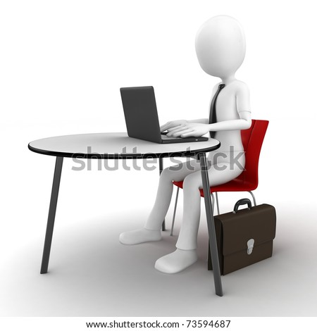 3d man sitting at the table and working on a laptop isolated on white - stock photo