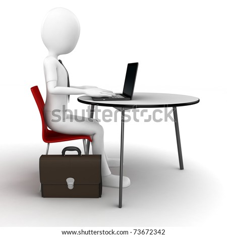 3d man sitting at the table and working on a laptop isolated on white