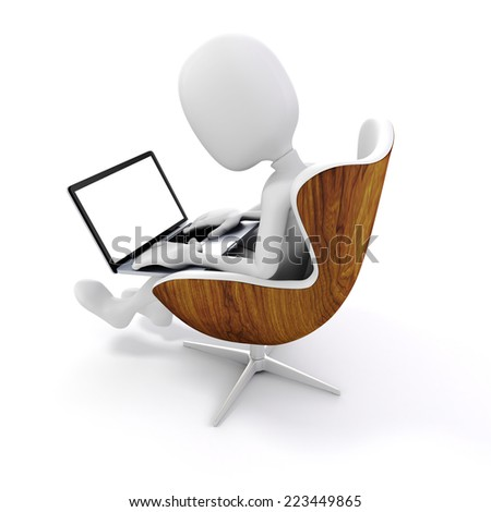 3d man sitting in a chair, working on laptop - stock photo