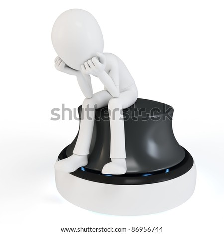 3d man sitting in a thoughtful thinker pose on white background