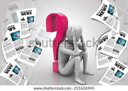3d man sitting near the question mark - stock photo