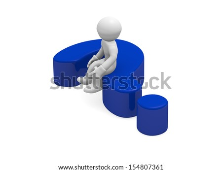 3d man sitting on a blue question mark - stock photo