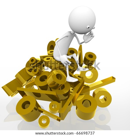 3d man sitting on a mountain of gold per cent, against a white background. - stock photo