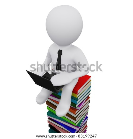 3D man sitting on a pile of books with computer - stock photo