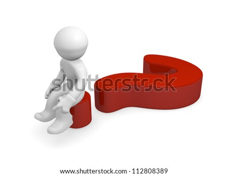 3d man sitting on a red question mark - stock photo