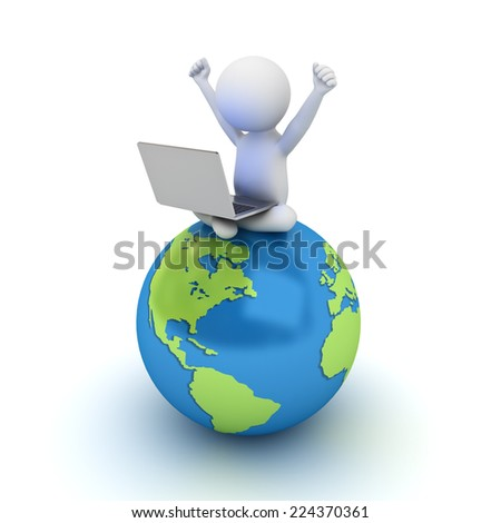 3d man sitting on blue globe map and using laptop computer isolated over white background - stock photo