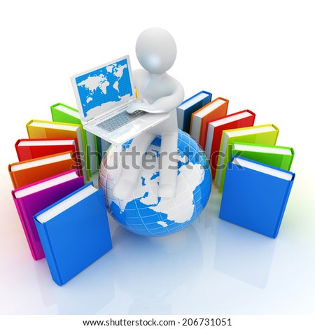 3d man sitting on earth and working at his laptop and books around his on a white background - stock photo