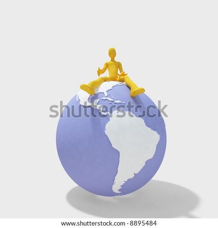3d man sitting on globe, isolated on white