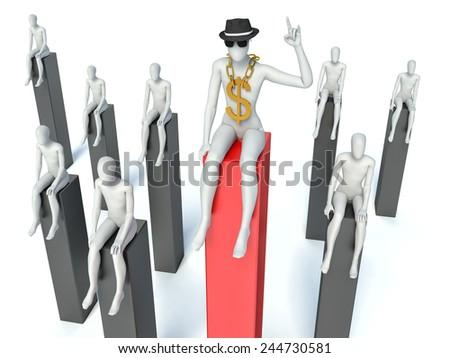 3d man sitting on graph - stock photo