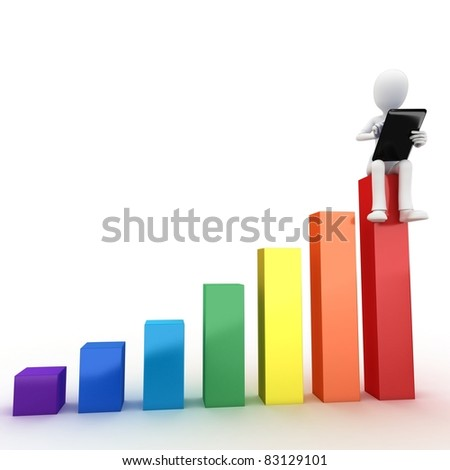 3d man sitting on graph bar with tablet on white background - stock photo