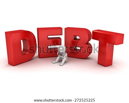 3d man sitting with red word debt isolated over white background - stock photo