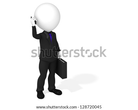 3d man speaking on the phone - stock photo