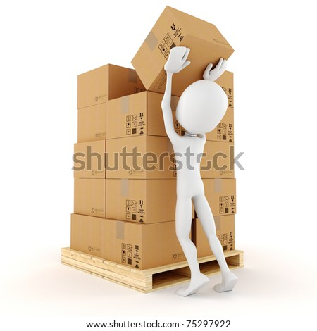 3d man stacking some cardboard boxes - stock photo