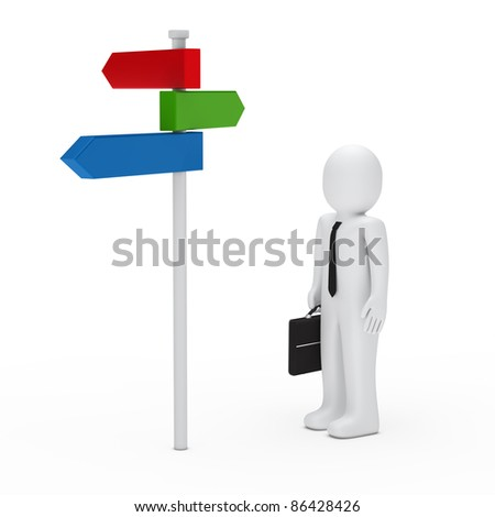 3d man stand for a way arrow - stock photo
