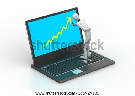 3d man standing a laptop