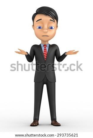 3d man standing and having no idea isolated over white background - stock photo