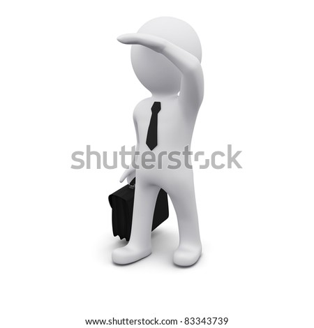 3D man standing and looking forward for new perspectives - stock photo