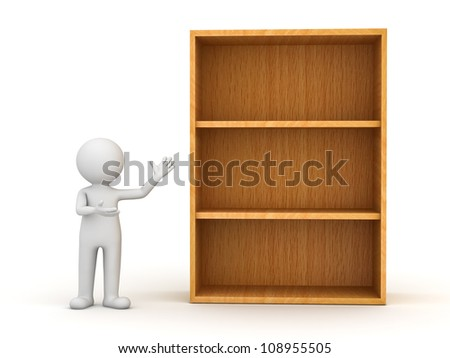 3d man standing and presenting wood shelves over white background - stock photo