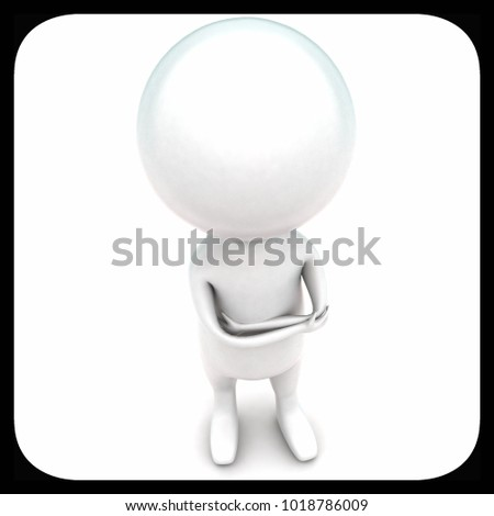 3d man standing concept in white isolated background - 3d rendering ,  top angle view