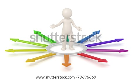 3d man standing in a circle surrounded by colored arrows pointing outwards - Isolated icon - Choice concept