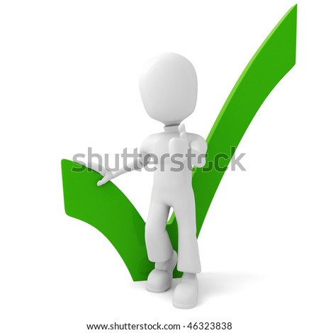 3d man standing in front of a positive sign