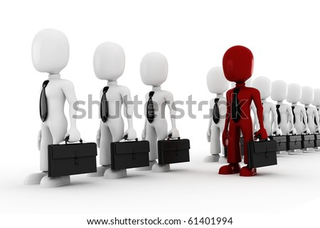 3d man standing inline - stock photo