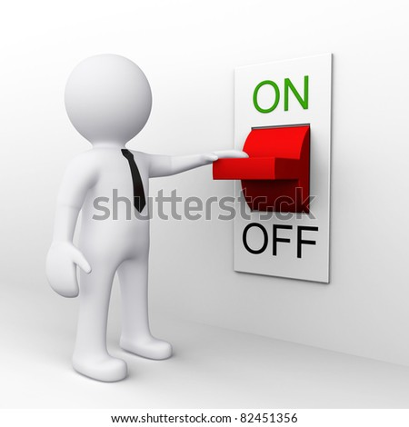 3D man standing near a on and off switch - stock photo