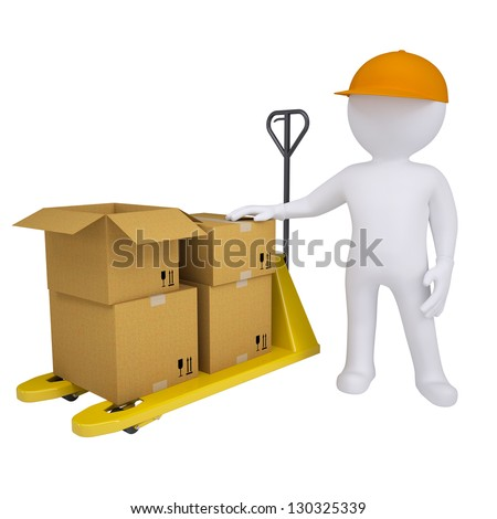 3D man standing next to a pallet truck. Isolated render on a white background - stock photo
