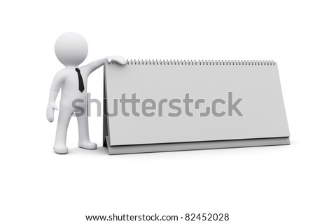 3D man standing next to blank white board - stock photo