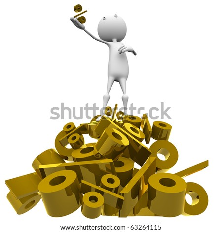 3d man standing on a mountain of gold per cent, against a white background. - stock photo
