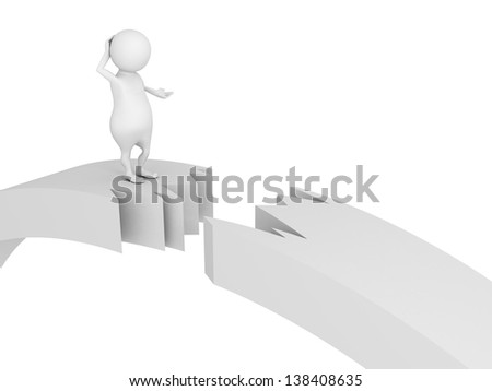 3d man standing on broken cracked bridge damage - stock photo