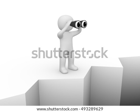 3d man standing on the brink of a precipice and looking through binocular. 3d render.