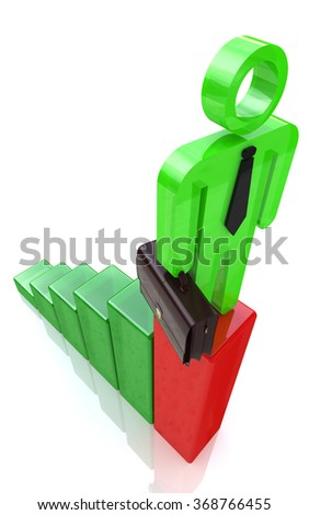 3d man standing on top of growth business red bar graph, business concept in the design of information related to business and economy - stock photo